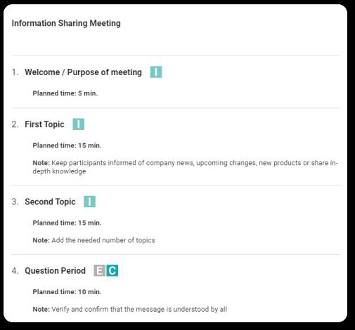 information-sharing meeting agenda beenote