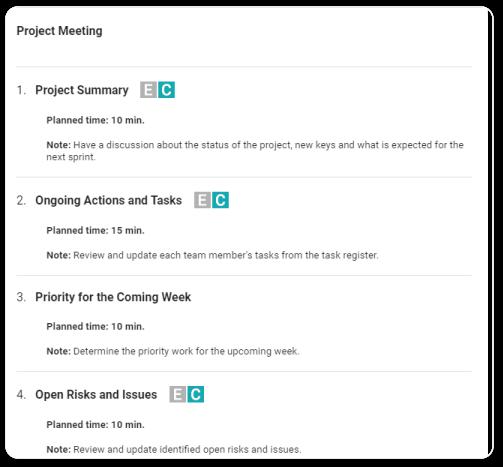 project meeting agenda beenote